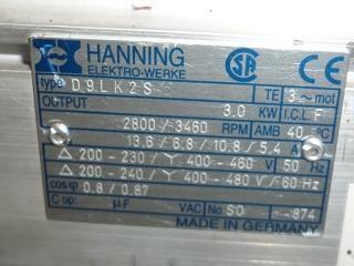 Plaque Moto-pompe Hanning Elektro-Werke